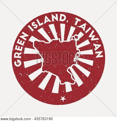 Green Island, Taiwan Stamp. Travel Red Rubber Stamp With The Map Of Island, Vector Illustration. Can