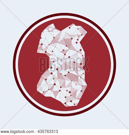 Tenggol Island Icon. Trendy Tech Logo Of The Island. Geometric Mesh Round Design. Technology, Intern