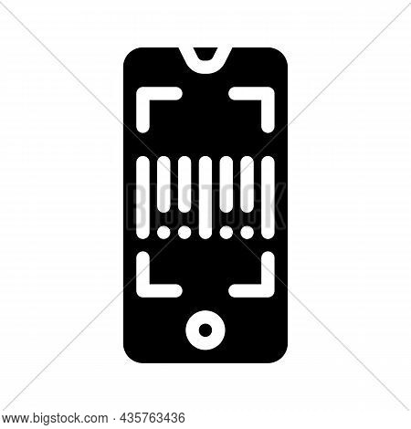 Barcode Scanner Application Glyph Icon Vector. Barcode Scanner Application Sign. Isolated Contour Sy