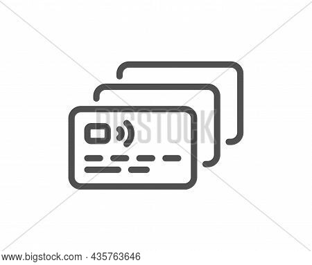 Credit Card Line Icon. Bank Money Payment Sign. Non-cash Pay Symbol. Quality Design Element. Line St