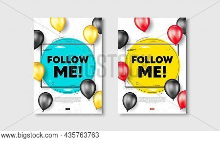 Follow Me Text. Flyer Posters With Realistic Balloons Cover. Special Offer Sign. Super Offer Symbol.