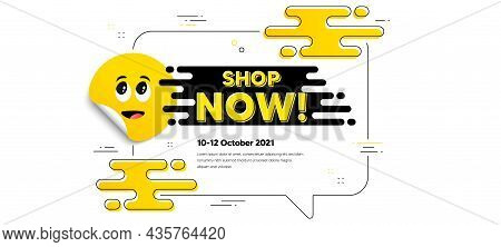 Shop Now Text. Cartoon Face Sticker With Chat Bubble Frame. Special Offer Sign. Retail Advertising S