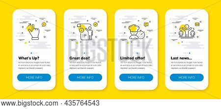 Vector Set Of Manual Doc, Chef And Touchscreen Gesture Line Icons Set. Ui Phone App Screens With Lin