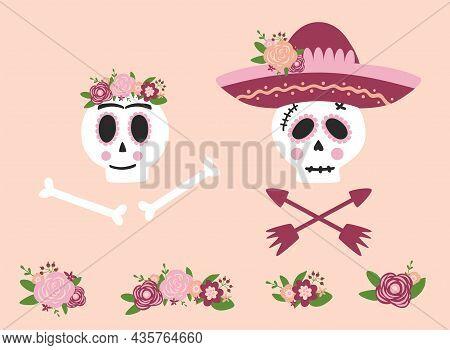 Day Dead Skull Woman And Man Set. Mexican Skull Flower Sombrero. Dia De Los Muertos Skull. Symbol Of