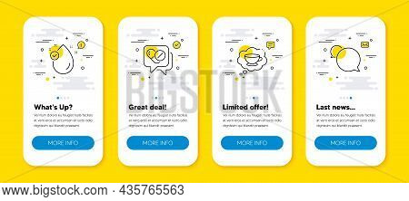 Vector Set Of Vitamin E, Coffee Cup And Medical Drugs Line Icons Set. Ui Phone App Screens With Line