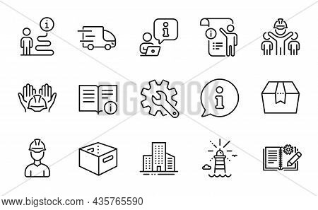 Industrial Icons Set. Included Icon As Customisation, Engineering Team, Lighthouse Signs. Builders U
