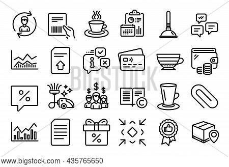 Vector Set Of Tea Cup, Infochart And Salary Employees Line Icons Set. Calendar Report, Money Wallet