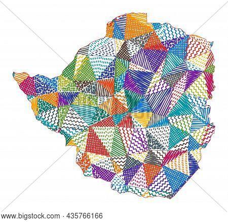 Kid Style Map Of Zimbabwe. Hand Drawn Polygons In The Shape Of Zimbabwe. Vector Illustration.