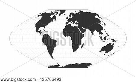 Map Of The World. Mcbryde-thomas Flat-polar Sinusoidal Equal-area Projection. Globe With Latitude An