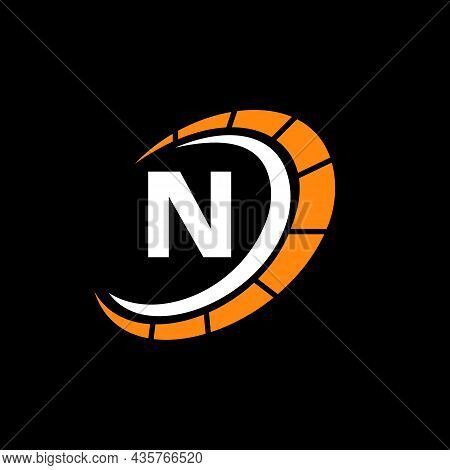 Sport Car Logo On Letter N Speed Concept. Car Automotive Template For Cars Service, Cars Repair With