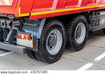 Rear Wheels Of The Mercedes-benz Arocs Dump Truck With Michelin X Works Tires. Close-up Fragment Of