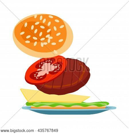 Fresh Cheeseburger With Tomato, Cutlet, Cheese And Salad