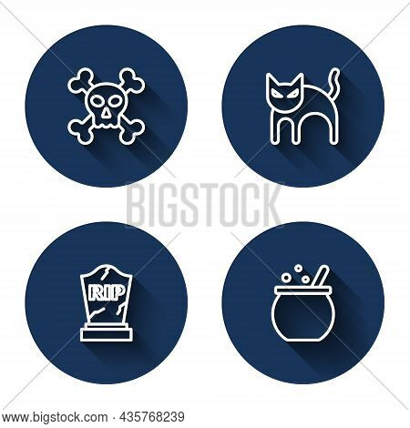 Set Line Skull On Crossbones, Black Cat, Tombstone With Rip Written And Halloween Witch Cauldron Wit