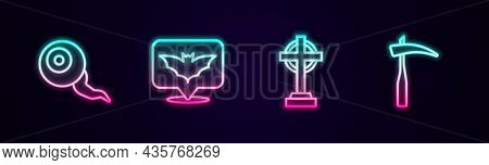 Set Line Eye, Flying Bat, Tombstone With Cross And Scythe. Glowing Neon Icon. Vector