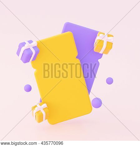 An Empty Coupon With Gifts. In Yellow And Purple Colors. 3d Rendering.