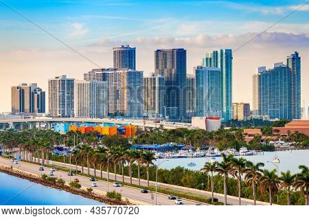 Miami, Florida, USA downtown skyline over MacAurther Causeway in the afternoon.