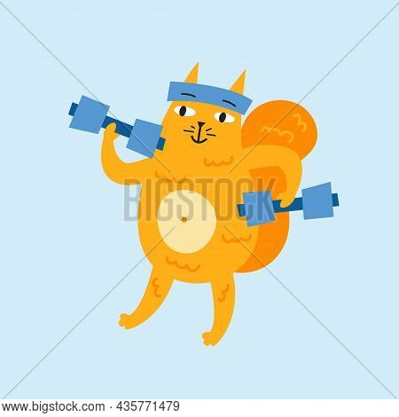 Domestic Funny Cat Practicing Sport In Gym With Power Lifting. Kitten, Kitty. Vector Illustration Is