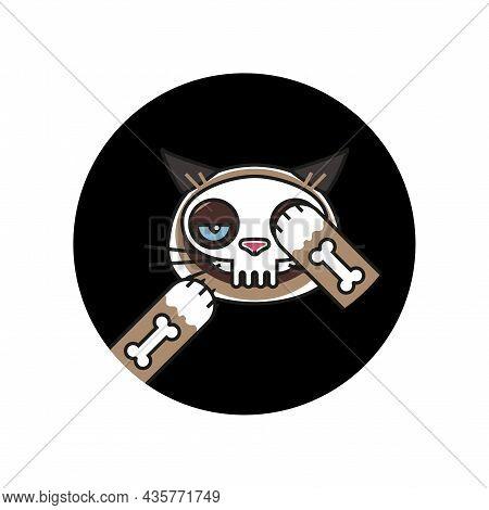 Grumpy Cat In Skeleton Costume Sticker. Halloween