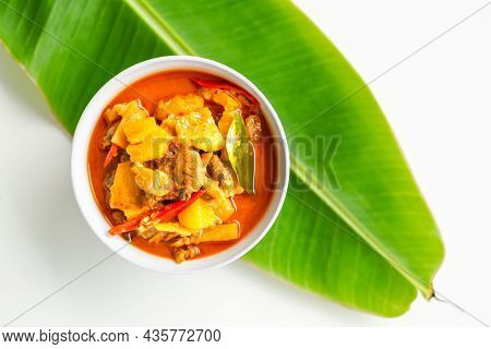Pineapple Curry With Clam And Coconut In White Cup. Original Food Thailand Spicy, Sweet, Sour Taste.