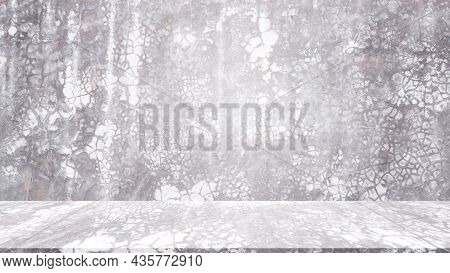 Empty Studio Room Cement Background. Blank Table Old Grunge Surface Concreet Construction Backdrop.