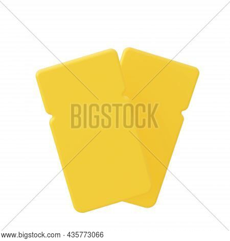 Two Yellow Coupons Isolated On White Background. 3d Rendering.