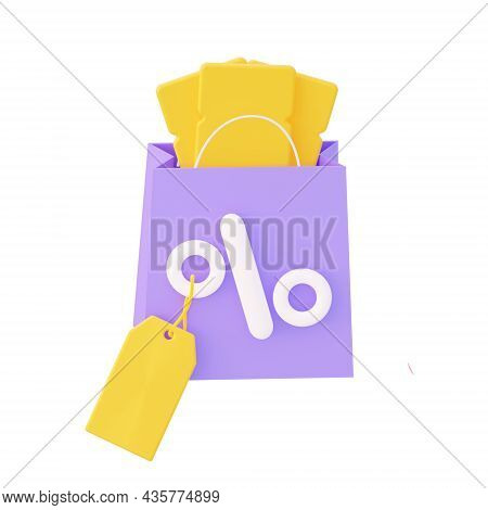 Purple Package With Percent And Yellow Coupons And Price Label. 3d Rendering
