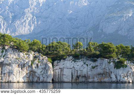 View From The Sea To The Makarska Riviera Mountain Range Croatia