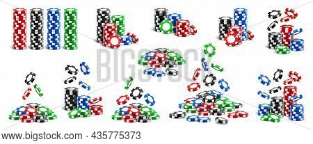 Falling Chips And Stacks Of Tokens, Playing Cards Isolated Realistic 3d Icons Set. Vector Poker Aces