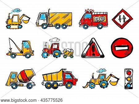 Child's Hand Draw Car Element.funny Colored Cartoon Doodle.a Set Of Various Machines In The Vector.d