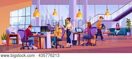 Co-workers In Office Open Space, Young People Working On Computers In Co-working Area. Vector Cartoo