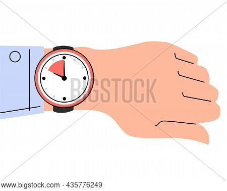 Watch On The Hand Vector Isolated. Time Is Ticking, Concept Of Deadline And Time Management. Checkin
