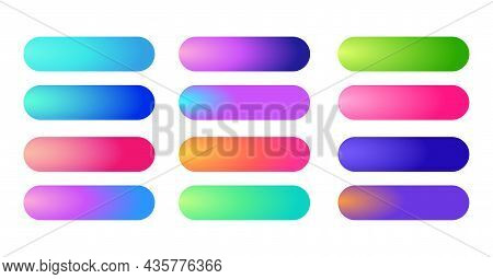 Holographic Gradients Set, Bars Buttons. Multicolor Green Purple Yellow Orange Pink Red Violet Cyan