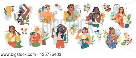 Woman And Hair-care Products Flat Cartoon Set. Vector Washing, Brushing, Cutting, Coloring And Care