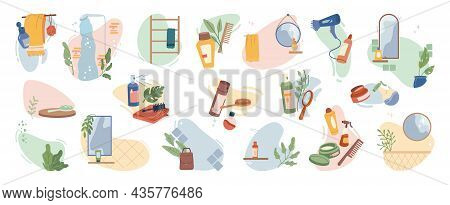Hair Care Products Set Isolated Flat Cartoon Icons. Vector Bathroom Shower, Towel And Haircare Acces