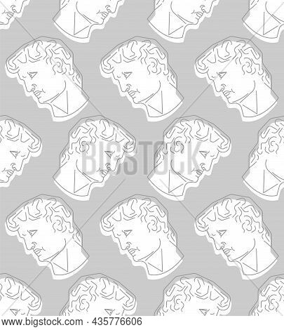 David Head Statue Pattern Seamless. Sculpture Of Michelangelo Background. Renaissance Statue. Art Ve