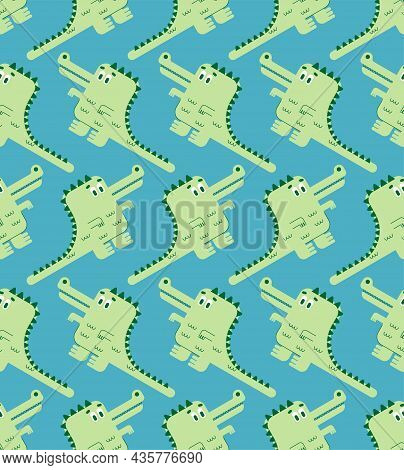 Cute Crocodile Pattern Seamless. Cartoon Alligator Background. Baby Fabric Texture