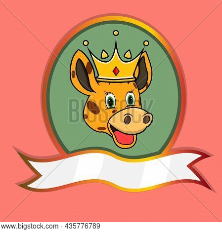 Cute Animal Head With Crown On Frame Label. Giraffe Head. Perfect For Cartoon, Logo, Icon And Charac