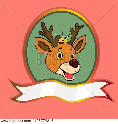 Cute Animal Head With Crown On Frame Label. Deer Head. Perfect For Cartoon, Logo, Icon And Character