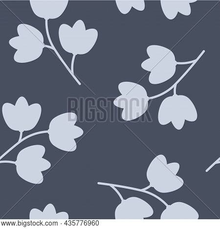 Vector Monochromatic Lilies Of The Valley In Blues Seamless Pattern Background. Perfect For Scrapboo