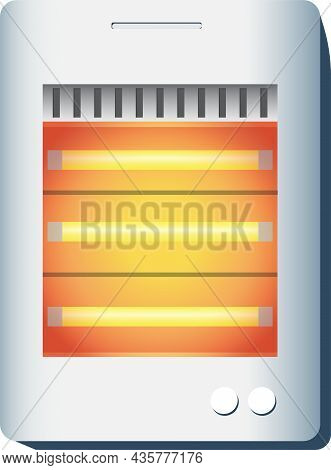 Electric Infrared Heater Vector Illustration. Device On. Compact Warm.