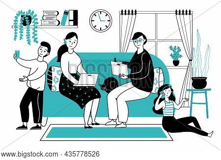 Family With Gadgets. People At Home With Smartphones And Tablets. Mother Father Kids Using Social Me