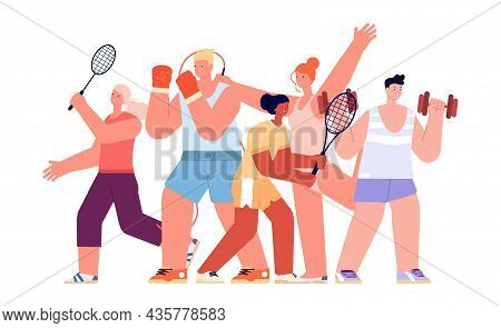 Sport Team. Different Athletes, International Sports Characters. Isolated Fitness Coach, Gym Group V