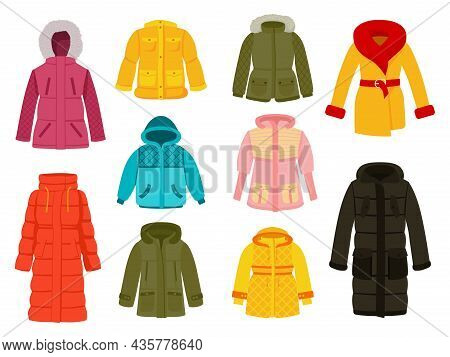 Warm Winter Clothes. Clothing Icons, Women Seasonal Cloth. Casual And Sport Garment. Colorful Fashio