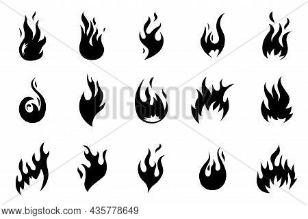 Black Fire Icons. Flames Shapes. Heat Fires Silhouettes. Isolated Hot Blaze, Bonfire Logo. Warning H