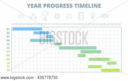 Project Schedule. Year Timeline, Work Development Chart Template. Gantt Diagramm For Business Startu