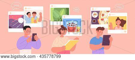 Children Social Media. Cyber Communication, Kids Internet Addiction. Girl And Boy Posting Photos, Li