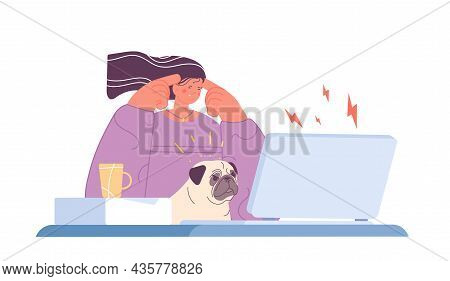 Tired Office Woman. Stress Work, Burnout And Mental Exhausted. Girl With Indignant Dog Sit At Comput
