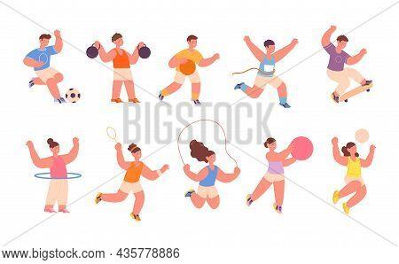Children Sport Activities. Kids Sporting Playing, Hoop Training. Child Different Activities, Play So