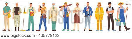 Workers Professions Isolated Flat Cartoon People Set. Policeman, Firefighter, Builder And Cook, Doct