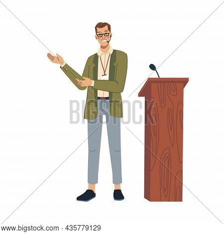 Speaker Lecturer Pointing On Something Isolated Flat Cartoon Character. Teacher Professor Or Busines